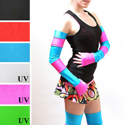 Striped Arm Warmers Pink Blue Anime Cosplay Costume Gloves Cheshire Cat Edm M24 - Cheshire Cat Costume Blue