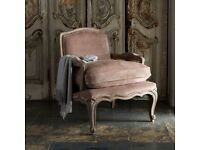 Designer hand carved Art Deco 'Rochelle' armchair in mink velvet with free Ralph Lauren throw