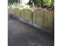 🔨🌟High Quality Heavy Duty Vertical Board Tanalised Bow Top Garden Fence Panels