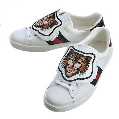 Gucci 478190-DOP80-9182 Shoes Leather White Angry Cat Tiger Size #10 Never Used