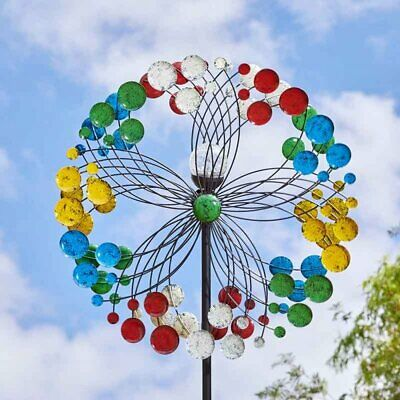 Rainbow Metal Garden Wind Spinner Stake Colour Changing Light Garden Feature