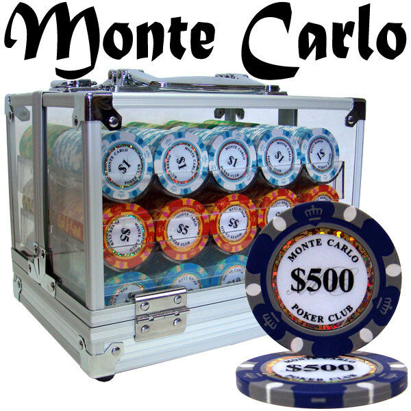 New 600 Monte Carlo 14g Clay Poker Chips Set with Acrylic Case - Pick Chips!