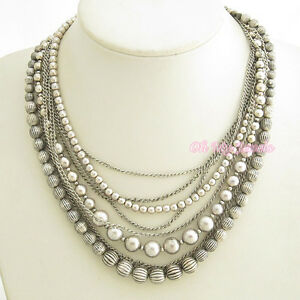 ANTIQUE SILVER TONE MULTI 9-STRAND BEADED LINK CHAIN NECKLACE N1100