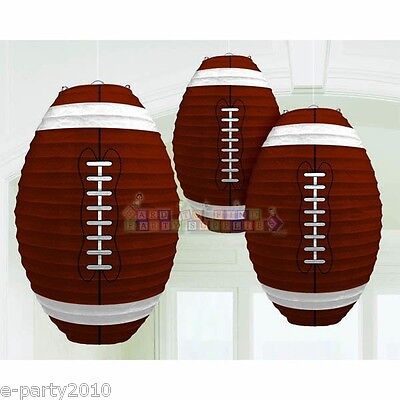 FOOTBALL PAPER LANTERNS (3) ~ Sports Birthday Party Supplies Decorations