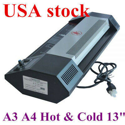 """US-Steel Thermal Laminator A3 A4 Hot &Cold 13"""" Machine Roller Pouch Photo Office for sale  USA"""