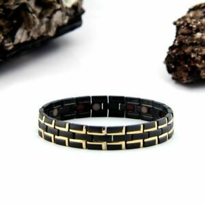 Men's Blk/Gold Stainless Steel Negative ION Bracelet by Purlife