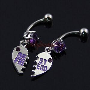 2 x Purple GEM Best Friend Dangle Belly Bars 14G XMAS Gift Body Jewelry DH