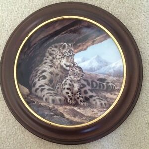 """The Snow Leopard"" framed plate"