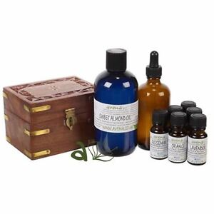 Aromatherapy Starter Kit Set Essential Oils   Wooden  Box