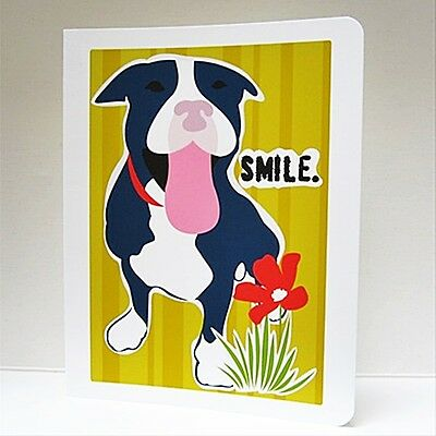 Pit Bull Smile Art Note Card (Blank Inside) - FREE SHIPPING! (Blank Inside Art Card)