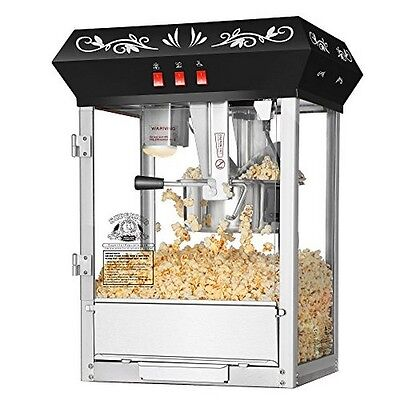 الة صنع الفشار جديد Superior Popcorn Black Countertop Movie Night Popcorn Popper Machine 8 Oz. Black