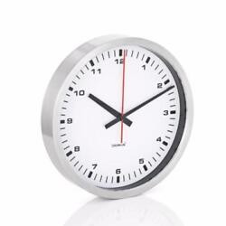 Blomus Era Wall Clock, Medium White w/ Stainless Steel Rim Quiet Quartz Time