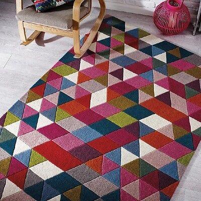 Modern Illusion Prism Pink / Multi Colour Handmade Wool Rugs 80x150cm  - Prism Multi Teppich