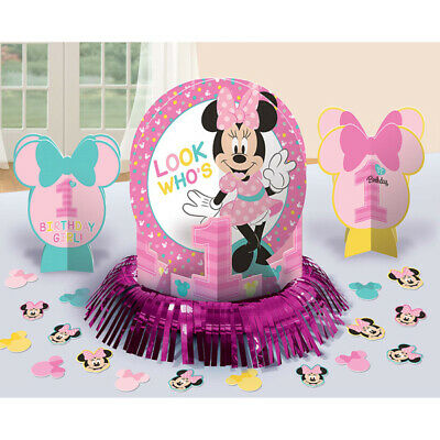 1st Birthday Minnie Mouse (Minnie Mouse 1st Birthday Table Decorating Kit Party Supplies Center Piece)