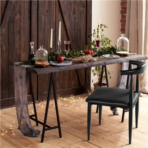 2pcs Dining Chairs Armless w/Backrest Modern Kitchen Chairs Metal Legs Black 10