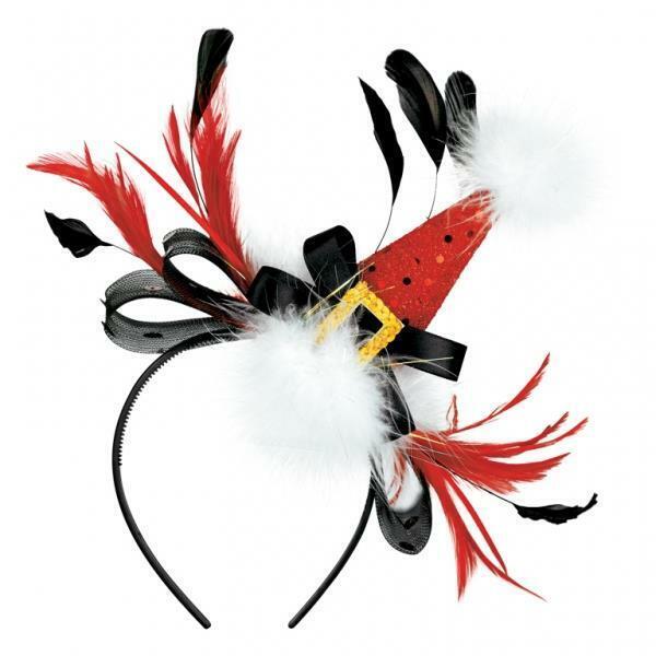 Christmas+Fashion+Mini+Santa%27s+Hat+on+Headband+with+Feathers+-+Fancy+Dress