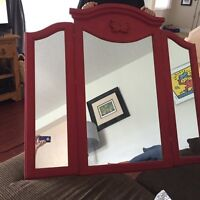 Large refinished solid pine mirror in milk paint  aged Finnish.