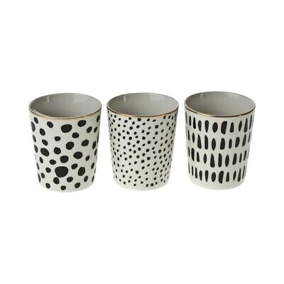 3 x Becher schwarz weiß gold Tasse Teebecher Kaffeebecher Porzellan Teetasse Set Weiße Becher