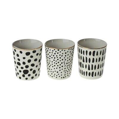 Schwarz, Weiß, Kaffee (3 x Becher schwarz weiß gold Tasse Teebecher Kaffeebecher Porzellan Teetasse Set)