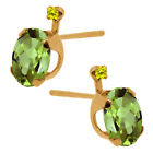 Peridot Stud Yellow Gold 14k Fine Earrings
