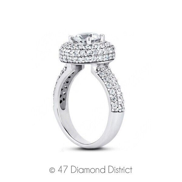 1.92 Ct G-vs2 Round Earth Mined Certified Diamonds 18k Gold Halo Sidestone Ring