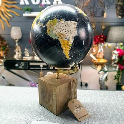 Vintage Look Globe with Wooden Cube Base, Round World Map, Decorative Gift