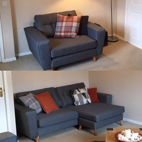 Dfs snuggle chair and l shape chaise long sofa in for Chaise long sofa