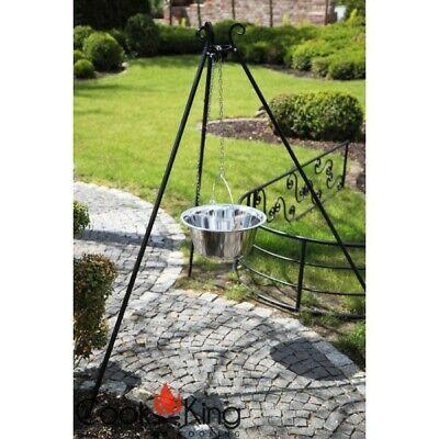 Schwenkgrill 180 cm mit Kessel Topf aus Edelstahl 14 Liter mit Deckel Dreibein