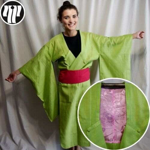 Extra Long Kimono Jacket Vintage Japanese Modified Michiyuki Robe - Neon Green