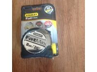 Stanley 8m fat max tape new