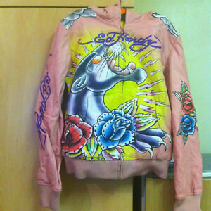 NEW Pink Leather Ed Hardy Panther Rhinestone LADIES JACKETwHOOD