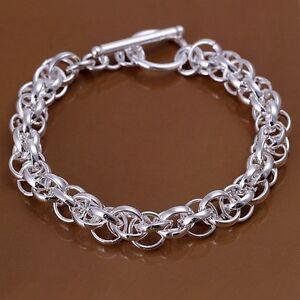 925 Sterling Silver Bracelet T-Bar Chunky Multi Chain Link Gift Bag Woman's