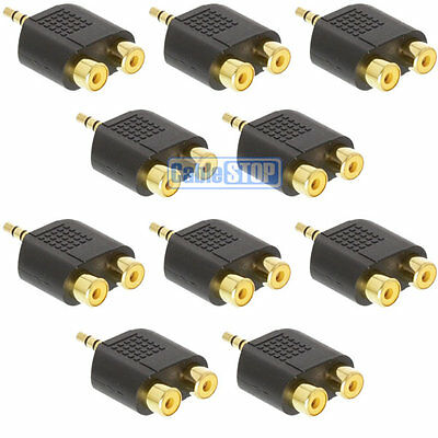 10 x 3.5MM AUX STEREO JACK MALE PLUG TO 2 X RCA PHONO AUDIO CONVERTER ADAPTER