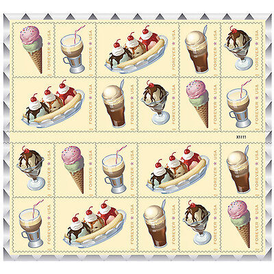 SODA FOUNTAIN FAVORITES USPS FOREVER STAMP, SHEET OF 20 STAMPS