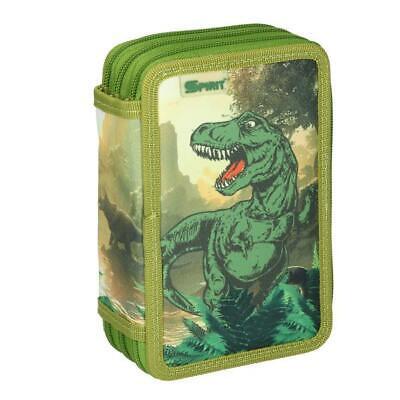 Schüler Etui T Rex Dinosaurier grün SPIRIT Feder Mäppchen 3 zip gefüllt neu