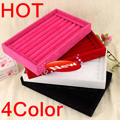 Hot New Wholesale 4color European Display Tray Velvet Earrings Tray Ring Box 1pc