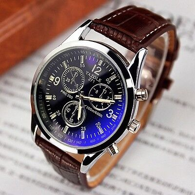 Luxury Men's Date Watch Stainless Steel Leather Military Analog Quartz Watch New