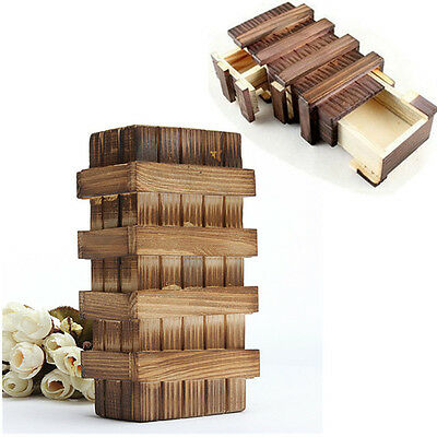 Chinese Vintage Classic Brain Magic Trick Wooden Puzzle Box Secret Drawer Gift