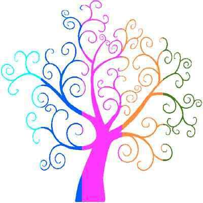 30 Custom Colorful Swirl Tree Personalized Address Labels
