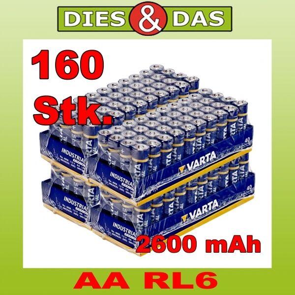 160 Pieces Varta AA Mignon LR6 4006 Industrial Battery in 4x Film 160x