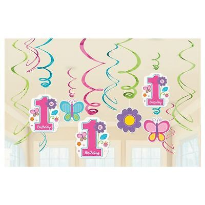 12pk Sweet Pink Butterfly Girl's 1st Birthday Party Supplies Swirl - Butterfly 1st Birthday Decorations