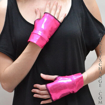 Hot Pink Gloves (Neon Gloves Hot Pink Short Fingerless Arm Cuffs Cosplay Costume Oil Slick Pvc)