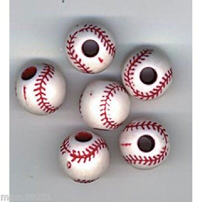 Beads PLASTIC BASEBALL Craft Bead ~ 12mm Round ~ Red & White ~ Package of - Red Plastic Beads