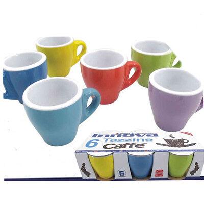 Set Servizio 6 Tazzine Tazze Caffè Colorate Color Pastello Ceramica 6x5cm sus