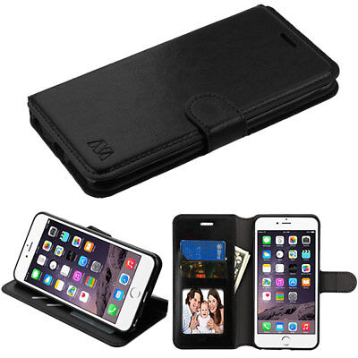 Apple iPhone 6 PLUS Leather Flip Wallet Pouch Fold Phone Case Cover Stand Black