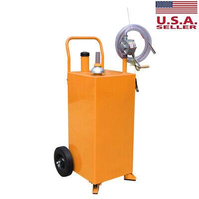 Red 30 Gallon Gas Caddy Storage Drum Auto Fuel Transfer Tank Rotary Pump Hose Us