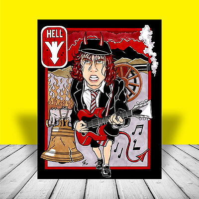 "ANGUS YOUNG on guitar AC/DC ""Highway to Hell"" POSTER ART, concert, artist signed"