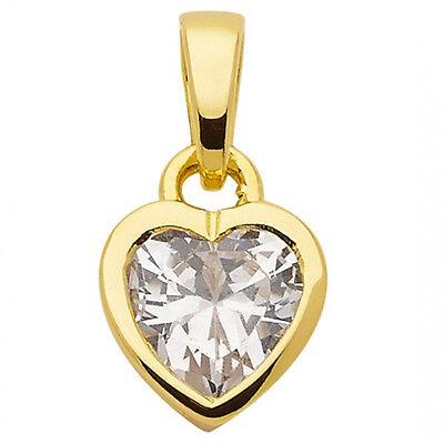 Gold 14 (Frauen Mädchen weißer Zirkonia Herz Anhänger aus Echt Gold 585 (14 Kt) Gelbgold )