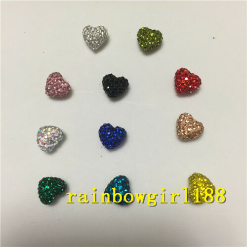 Heart Shape!10/20Qty Colorful Polymer Clay Rhinestone Pave Disco Shamballa Beads