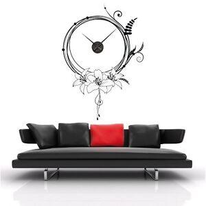 sticker mural horloge g ante fleurs design m canisme. Black Bedroom Furniture Sets. Home Design Ideas